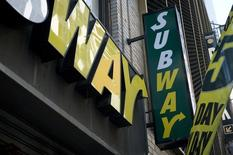A Subway shop logo is pictured in the Manhattan borough of New York February 14, 2014.    REUTERS/Carlo Allegri