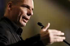 """Greek Finance Minister Yanis Varoufakis delivers a speech during The Economist conference on """"Europe: The comeback, Greece: How resilient?"""" in Athens May 14, 2015.  REUTERS/Alkis Konstantinidis"""