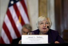 Federal Reserve Chair Janet Yellen speaks at a meeting of the Financial Stability Oversight Council (FSOC) at the Treasury Department in Washington May 19, 2015. REUTERS/Carlos Barria