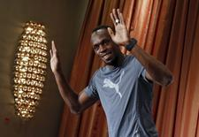 Jamaica's track star Usain Bolt attends a news conference in the Manhattan borough of New York City, June 12, 2015. REUTERS/Mike Segar