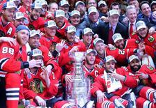 Chicago Blackhawks players pose for a team photo. Mandatory Credit: Dennis Wierzbicki-USA TODAY Sports