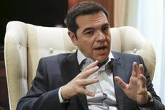 Greek Prime Minister Alexis Tsipras gestures during a meeting with leader of the centre-left To Potami party Stavros Theodorakis (not pictured) in Maximos Mansion in Athens June 16, 2015. REUTERS/Alkis Konstantinidis