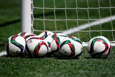 Jun 12, 2015; Winnipeg, Manitoba, CAN; Adidas Conext15 soccer balls on the field before the game between Australia and Nigeria in a Group D soccer match in the 2015 FIFA women's World Cup at Winnipeg Stadium. Michael Chow-USA TODAY Sports