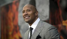 """Cast member Dwayne Johnson poses at the premiere of """"San Andreas"""" in Hollywood, California May 26, 2015. REUTERS/Mario Anzuoni"""