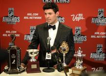 Jun 24, 2015; Las Vegas, NV, USA; Carey Price talks to media after winning four awards during the 2015 NHL Awards at MGM Grand. Mandatory Credit: Jake Roth-USA TODAY Sports