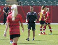 Jun 5, 2015; Edmonton, Alberta, Canada; Canada head coach John Herdman leads his team through practice on the day before the first game of the FIFA women's soccer World Cup games at Commonwealth Stadium between Canada and China.   Erich Schlegel-USA TODAY Sports -