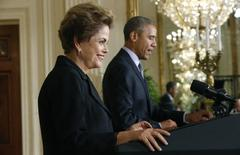 Presidentes Dilma Rousseff e Barack Obama na Casa Branca 30/6/2015  REUTERS/Jonathan Ernst