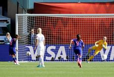 Jul 1, 2015; Edmonton, Alberta, CAN; Japan midfielder Aya Miyama (8) scores a goal on a penalty kick against the England during the first half in the semifinals of the FIFA 2015 Women's World Cup at Commonwealth Stadium. Mandatory Credit: Erich Schlegel-USA TODAY Sports