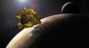 An artist?s impression of NASA?s New Horizons spacecraft encountering Pluto and its largest moon, Charon, is seen in this NASA image from July 2015. The first spacecraft to visit distant Pluto, a dwarf planet in the solar system's frozen backyard, is still three months away from a close encounter, but already in viewing range, newly released photos show.    REUTERS/NASA/Applied Physics Laboratory/Southwest Research Institute  THIS IMAGE HAS BEEN SUPPLIED BY A THIRD PARTY. IT IS DISTRIBUTED, EXACTLY AS RECEIVED BY REUTERS, AS A SERVICE TO CLIENTS. FOR EDITORIAL USE ONLY. NOT FOR SALE FOR MARKETING OR ADVERTISING CAMPAIGNS