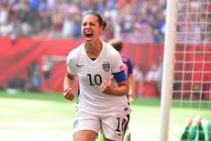 Jul 5, 2015; Vancouver, British Columbia, CAN; United States midfielder Carli Lloyd (10) reacts after scoring a goal against Japan in the first half of the final of the FIFA 2015 Women's World Cup at BC Place Stadium. Credit: Anne-Marie Sorvin-USA TODAY Sports