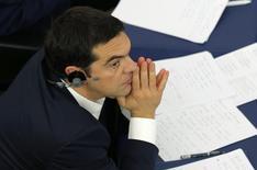 Premiê grego, Alexis Tsipras, no Parlamento Europeu, em Estrasburgo. 08/07/2015 REUTERS/Vincent Kessler