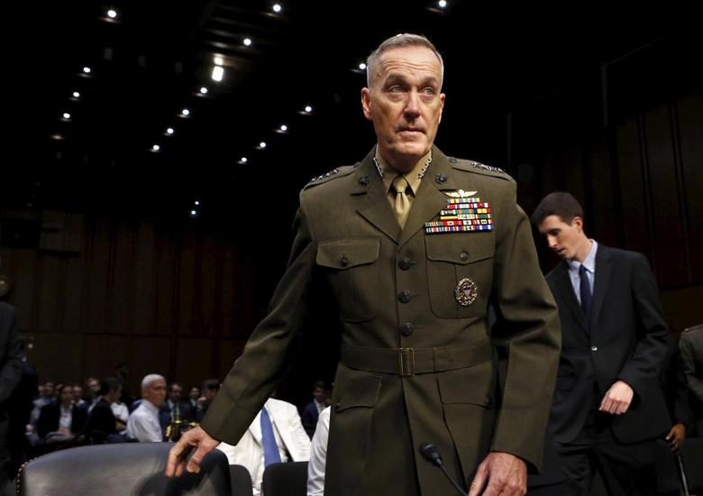 Marine Corps Gen. Joseph Dunford arrives at the Senate Armed Services committee nomination hearing to be chairman of the Joint Chiefs of Staff on Capitol Hill in Washington July 9, 2015. REUTERS/Yuri Gripas