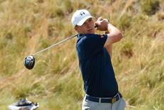 Jun 15, 2015; University Place, WA, USA; Jordan Spieth tees off on the 13th hole during practice rounds on Monday at Chambers Bay. Michael Madrid-USA TODAY Sports