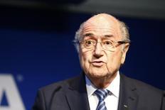 Blatter concede entrevista na sede da Fifa em Zurique.  2/6/2015. REUTERS/Ruben Sprich