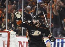 May 30, 2015; Anaheim, CA, USA; Anaheim Ducks center Ryan Kesler (17) celebrates after scoring a goal against the Chicago Blackhawks in the second period in game seven of the Western Conference Final of the 2015 Stanley Cup Playoffs at Honda Center. Mandatory Credit: Gary A. Vasquez-USA TODAY Sports