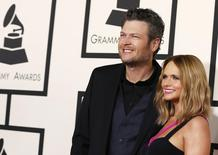 Country artists Blake Shelton and Miranda Lambert arrive at the 57th annual Grammy Awards in Los Angeles, California February 8, 2015.  REUTERS/Mario Anzuoni
