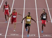 Jul 23, 2015; Toronto, Ontario, CAN; Rasheed Dwyer of Jamaica breaks a Pan Am Games record in the men's athletics 200m semifinals during the 2015 Pan Am Games at CIBC Pan Am Athletics Stadium. Mandatory Credit: John David Mercer-USA TODAY Sports