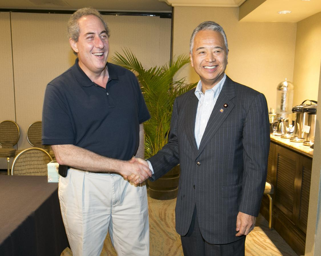 Amari says japan us need more bilateral trade talks michael fromam l and japans trade minister akira amari greet each other during meetings for the trans pacific partnership tpp in lahaina maui m4hsunfo