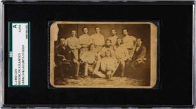 A rare pre-Civil War baseball card featuring the 1860s Brooklyn Atlantics is pictured in this undated handout photo obtained by Reuters on July 30, 2015. REUTERS/Heritage Auction/Handout via Reuters