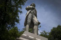 A statue of Alexander Hamilton stands in New York's Central Park July 28, 2015.  REUTERS/Mike Segar