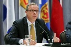 Saskatchewan's Premier Brad Wall speaks during a news conference after the Quebec Summit On Climate Changes at the Hilton hotel in Quebec City, April 14, 2015. REUTERS/Mathieu Belanger