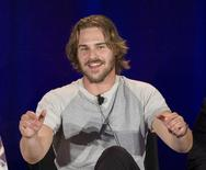 """Cast member Grey Damon speaks at a panel for the television series """"Aquarius"""" during a NBC summer press day in Pasadena, California April 2, 2015.   REUTERS/Mario Anzuoni"""