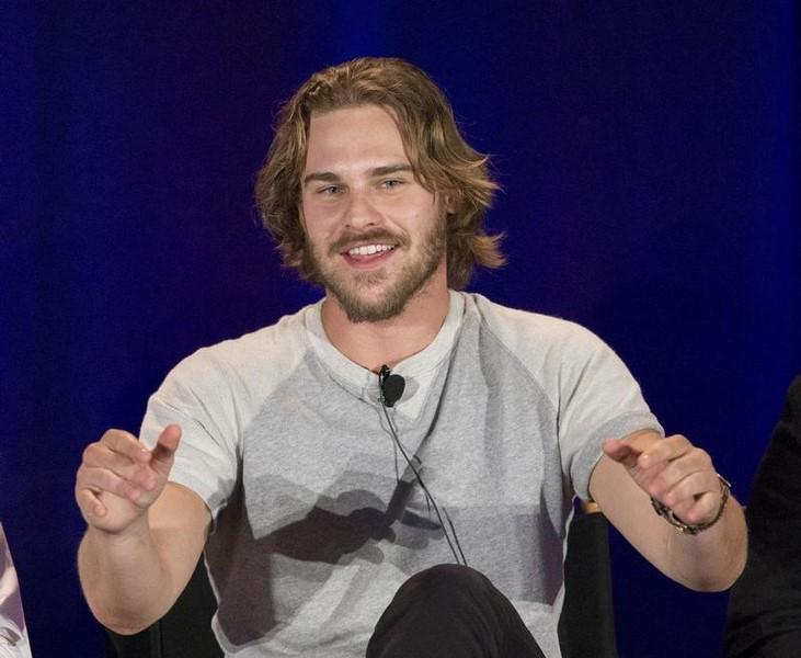 Cast member Grey Damon speaks at a panel for the television series ''Aquarius'' during a NBC summer press day in Pasadena, California April 2, 2015.   REUTERS/Mario Anzuoni