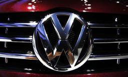 A Volkswagen symbol is seen on the front of a Passat during the press days for the North American International Auto show in Detroit, Michigan, in this January 11, 2011 file photo.     REUTERS/Mark Blinch