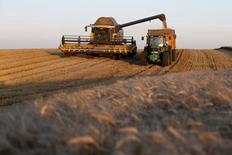 Una cosechadora combinada funcionando en Trescault, Francia, ago 5 2015.  El Consejo Internacional de Cereales (CIC) elevó el jueves su pronóstico para la producción mundial de trigo para el periodo  2015/2016 en 10 millones de toneladas, a 720 millones, debido principalmente a la mejora de las perspectivas en Rusia, Ucrania y la Unión Europea.REUTERS/Pascal Rossignol