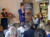 Swedish author David Lagercrantz (2nd L) speaks to the media at an event to promote the fourth book in the Millennium crime series, in Stockholm August 26, 2015. REUTERS/Fredrik Sandberg/TT News Agency