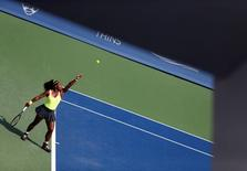 Aug 23, 2015; Cincinnati, OH, USA; Serena Williams (USA) serves against Simona Halep (not pictured) in the finals during the Western and Southern Open tennis tournament at the Linder Family Tennis Center. Mandatory Credit: Aaron Doster-USA TODAY Sports