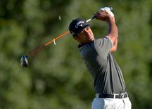 Aug 28, 2015; Edison, NJ, USA; Tony Finau plays his tee shot at the 2nd hole during the second round of The Barclays at Plainfield Country Club. Mandatory Credit: Porter Binks-USA TODAY Sports