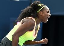 Aug 11, 2015; Toronto, Ontario, Canada;  Serena Williams of the United States reacts after a shot against Flavia Pennetta of Italy (not pictured) during the Rogers Cup tennis tournament at Avival Centre. Mandatory Credit: Dan Hamilton-USA TODAY Sports
