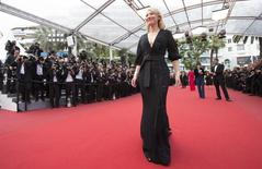 """Actress Cate Blanchett poses on the red carpet as she arrives for the screening of the film """"Sicario"""" in competition at the 68th Cannes Film Festival in Cannes, southern France, May 19, 2015.          REUTERS/Yves Herman"""