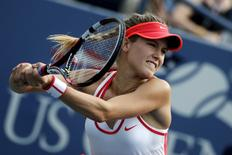 Eugenie Bouchard of Canada hits a return to Dominika Cibulkova during their match at the U.S. Open Championships tennis tournament in New York, September 4, 2015. REUTERS/Mike Segar