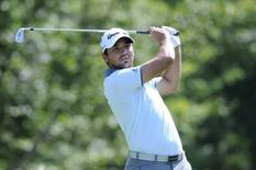 Sep 4, 2015; Norton, MA, USA;Jason Day hits his tee shot on the 17th hole during the first round at the Deutsche Bank TPC of Boston. Mandatory Credit: Mark Konezny-USA TODAY Sports