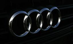 An Audi logo is seen on the radiator grill of an Audi vehicle at a car dealer in Eching near Munich March 9, 2015.  REUTERS/Michael Dalder