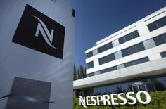 The Nespresso logo is pictured outside of the company headquarters in Lausanne April 9, 2011.  REUTERS/Denis Balibouse