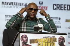 Undefeated WBC/WBA welterweight champion Floyd Mayweather Jr. speaks during a news conference at MGM Grand Hotel & Casino in Las Vegas September 9, 2015.  REUTERS/Las VegasSun/Steve Marcus