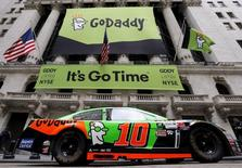 A NASCAR vehicle is seen parked out front during web hosting company GoDaddy's initial public offering (IPO) at the New York Stock Exchange in this April 1, 2015 file photo.  REUTERS/Brendan McDermid