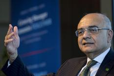 Bharat Masrani, group president and chief executive officer of Toronto Dominion (TD) Bank Group, gestures as he speaks during an interview in New York September 11, 2015. REUTERS/Brendan McDermid