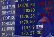 Un peatón se refleja en un tablero electrónico que muestra el índice Nikkei de Japón, y otros índices de mercado, en una correduría en Tokio, Japón, 9 de septiembre de 2015. Las bolsas de Asia subían el lunes en una sesión volátil después de los mercados chinos fueron golpeados por unos débiles datos económicos, y el dólar se debilitaba mientras los inversores se preguntan si la Reserva Federal de Estados Unidos tendrá la confianza suficiente para subir las tasas de interés por primera vez en casi una década. REUTERS/Yuya Shino