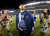 Sep 20, 2015; Philadelphia, PA, USA; Dallas Cowboys quarterback Tony Romo (9) on the field after game against the Philadelphia Eagles during the second half at Lincoln Financial Field. Romo left the game with an injury. The Cowboys defeated the Eagles, 20-10. Eric Hartline-USA TODAY Sports