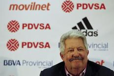 Rafael Esquivel, Venezuela's national soccer federation president, attends a news conference in Caracas May 10, 2012.  REUTERS/Jorge Silva