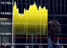 Un peatón se refleja en un tablero electrónico que muestra el índice Nikkei de Japón, afuera de una correduría en Tokio, Japón, 27 de agosto de 2015. Las bolsas de Asia se hundían el lunes luego de una sesión mediocre en Wall Street y antes del reporte de unos importantes datos económicos en la semana, mientras el dólar consolidaba sus ganancias frente al yen y el euro. REUTERS/Yuya Shino