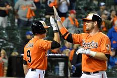 Sep 30, 2015; Baltimore, MD, USA;  Baltimore Orioles catcher Matt Wieters (32) high fives left fielder David Lough (9) after a two run home run during the eighth inning against the Toronto Blue Jays at Oriole Park at Camden Yards. Baltimore Orioles defeated Toronto Blue Jays 8-1. Tommy Gilligan-USA TODAY Sports