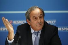 UEFA President Michel Platini attends a news conference after the draw for the 2015/2016 UEFA Europa League soccer competition at Monaco's Grimaldi Forum in Monte Carlo, Monaco August 28, 2015.   REUTERS/Eric Gaillard -