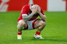 Rugby Union - Canada v Romania - IRB Rugby World Cup 2015 Pool D - Leicester City Stadium, Leicester, England - 6/10/15 Canada's Ray Barkwill is dejected at the end of the game Action Images via Reuters / Peter Cziborra Livepic