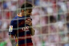 Atacante do Barcelona Lionel Messi em partida contra Athletic Bilbao. 23/08/2015 REUTERS/Joseba Etxaburu
