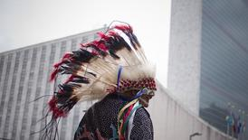 Travis Mazawaficuna of the Dakota Nation (Sioux) Native American tribe arrives with others to the International Day of the World's Indigenous Peoples outside the United Nations in Manhattan, New York, in this file photo taken August 9, 2013.  REUTERS/Adrees Latif/Files